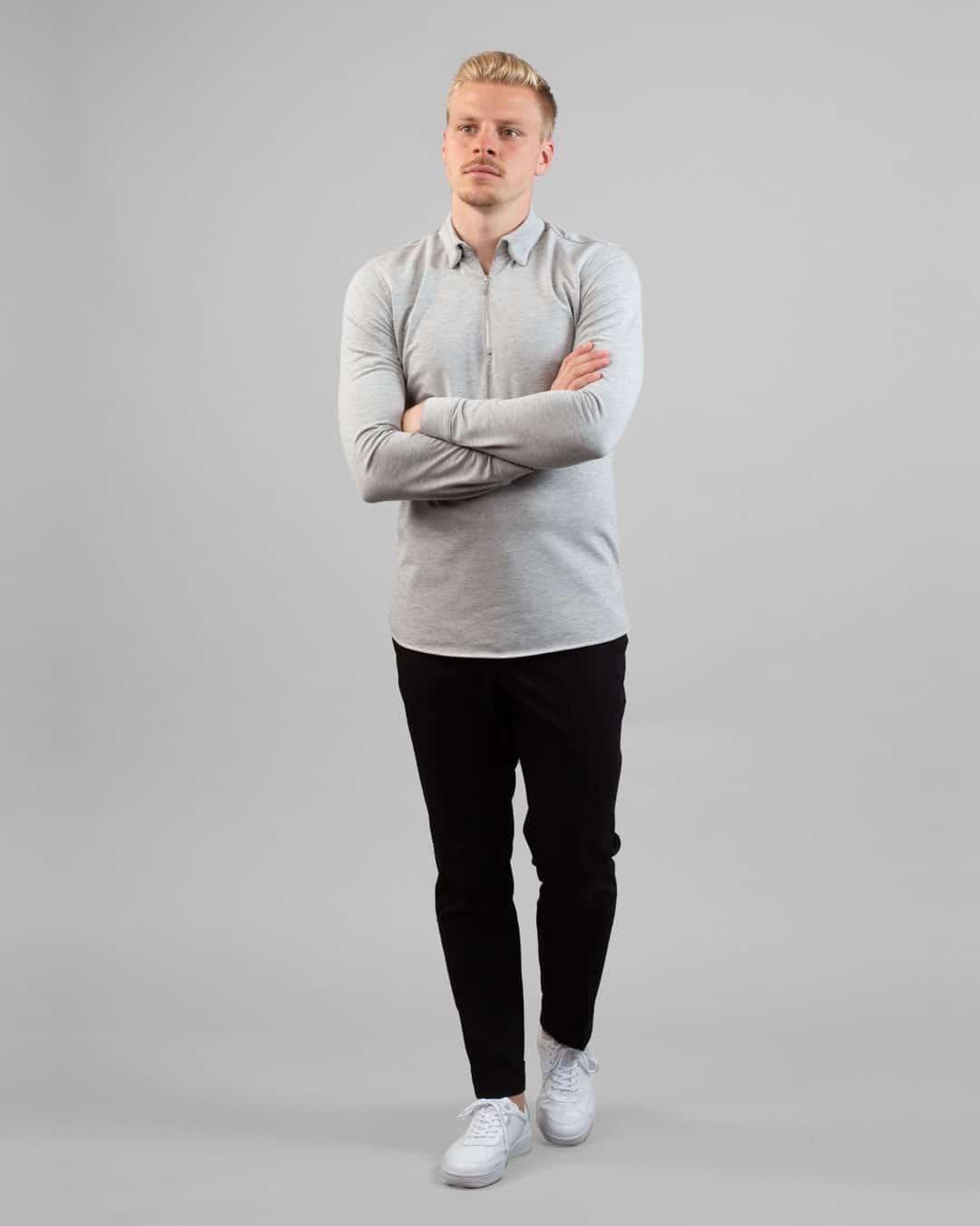 Dev half zip shirt – Livid grey
