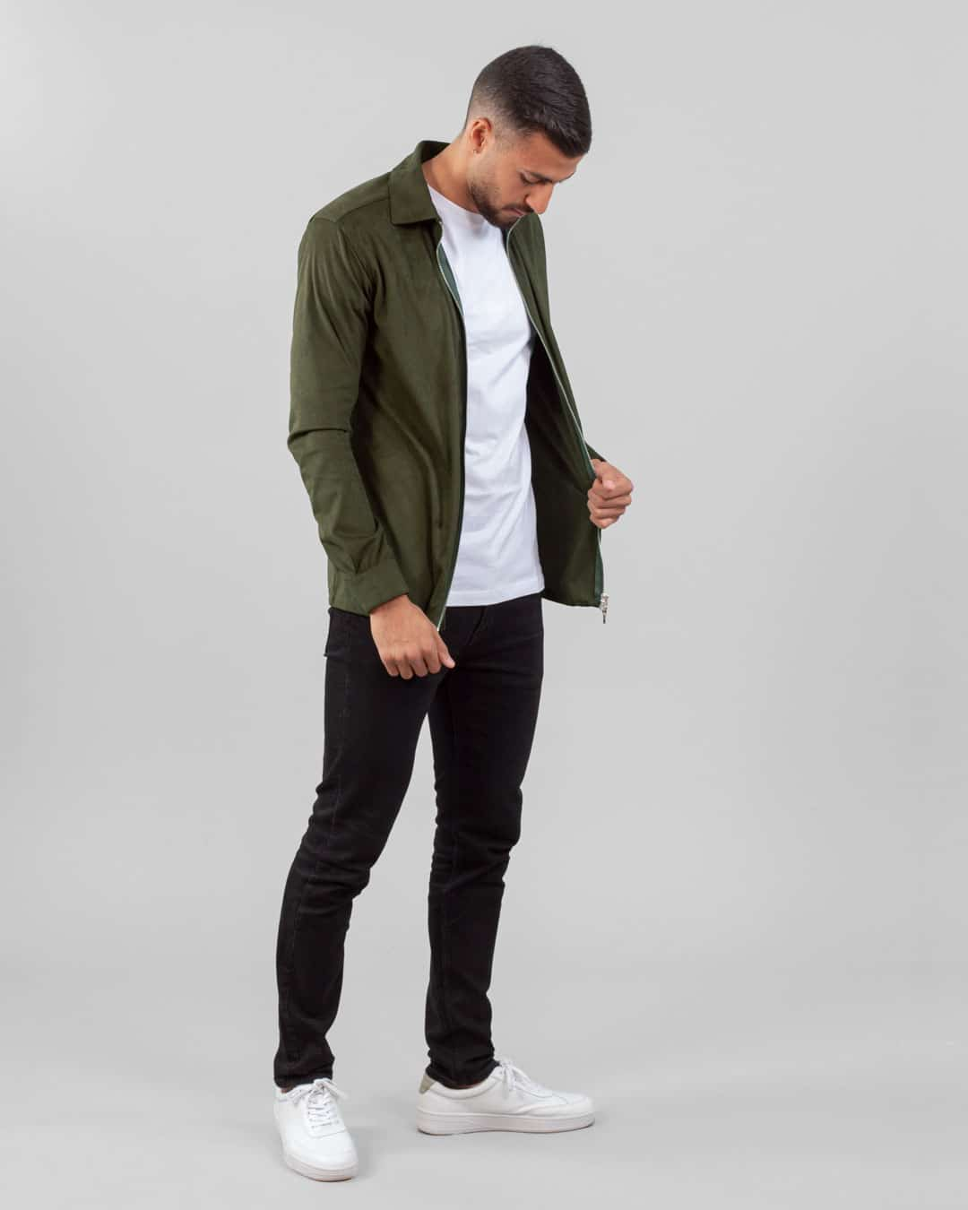 Neo faux suede overshirt – Moss green